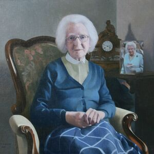 Commissioned Portrait Painting of Artist`s Mother at 100