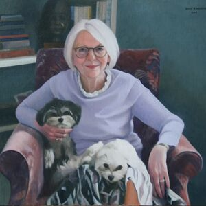 Commissioned Portrait Painting of Deborah and the dogs