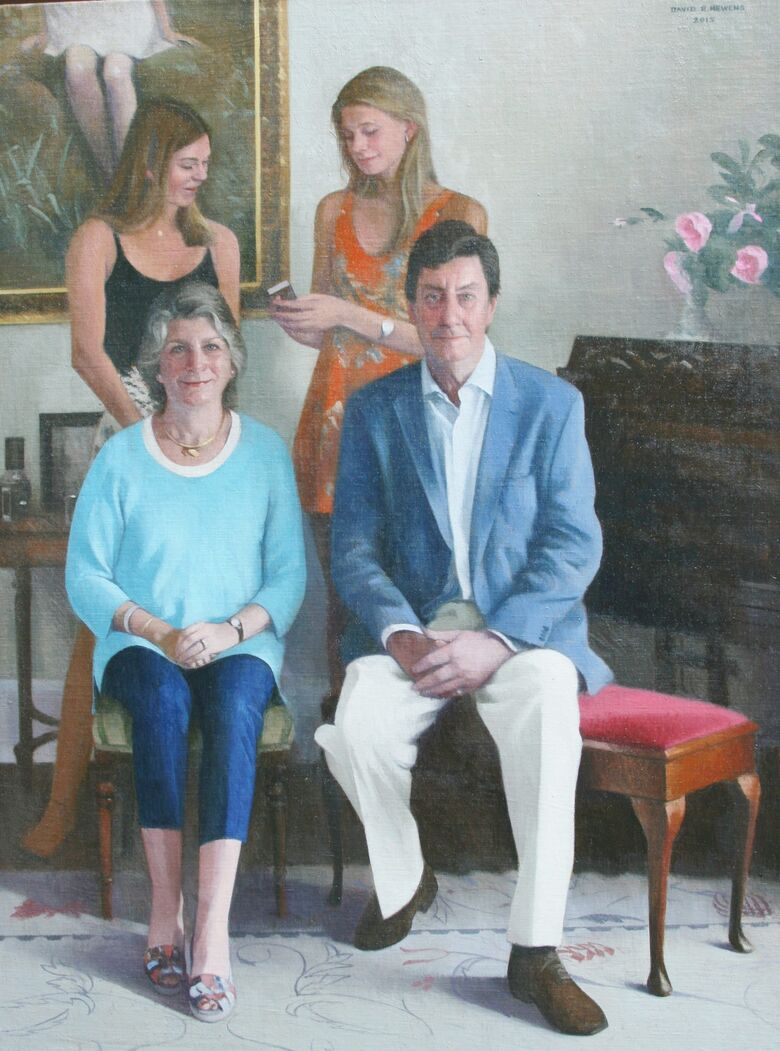 Commissioned Portrait Painting of Roger Sedgwick Rough and family