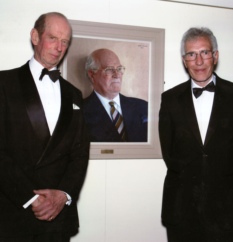 The Duke of Kent and David Newens, at the unveiling of David's portrait of Lord Vincent.
