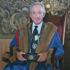 Commissioned Portrait Painting of Antony Barrow, Master Leathersellers Livery Company